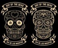 Day of the dead. Dia de los muertos. Set of the sugar skulls. Design elements for poster, greeting card, banner. Vector illustrati Stock Photo