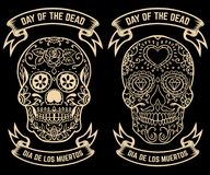 Day of the dead. Dia de los muertos. Set of the sugar skulls. Design elements for poster, greeting card, banner. Vector illustrati Royalty Free Stock Photos