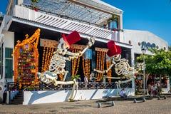 Day of the Dead Dia de los Muertos Store Decoration - Puerto Vallarta, Jalisco, Mexico. PUERTO VALLARTA, MEXICO - Oct 31, 2016: Day of the Dead Dia de los royalty free stock photo