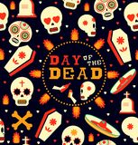 Day of the dead emoji skull seamless pattern art. Mexican day of the dead seamless pattern art, sugar skull emoji with traditional decoration. Includes mariachi Royalty Free Stock Photo