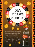 Day of the dead flyer, poster, invitation. Dia de Muertos template card for your design. Holiday in Mexico concept Stock Photography
