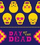 Day of the dead fun sugar skull emoji icon pattern Stock Photography