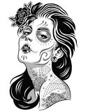 Day of dead girl black and white illustration. Vector of black and white day of dead girl stock illustration