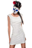 Day of the dead girl. With sugar skull makeup Stock Photography