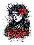Day of Dead Girl. Vintage sugar skull girl with roses for Day of the Dead (Dia de los Muertos Royalty Free Stock Image