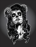 Day of the Dead woman with Sugar Skull Face Paint. Day of the Dead gypsy woman with Sugar Skull Face Paint stock illustration