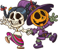 Day of the dead and Halloween characters. Holding hands. Vector clip art illustration with simple gradients. All in a single layer Royalty Free Stock Images