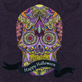 Day Of The Dead. Hand Drawn Skull ornamentrd with flowers Royalty Free Stock Photography