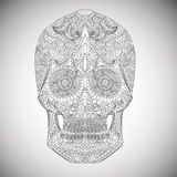 Day Of The Dead. Hand Drawn Skull ornamentrd vector flowers Royalty Free Stock Photo