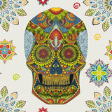 Day Of The Dead. Hand Drawn Skull ornamentrd vector flowers Stock Photography