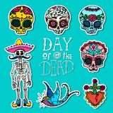 Dia de los Muertos or Day of the Dead stickers Royalty Free Stock Photography