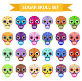 Day of the dead holiday in mexico icons set with sugar skulls. Flat style. Skeleton collection. Dia de Muertos concept. Vector illustration Royalty Free Stock Photos