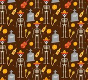 Day of the dead holiday in Mexico seamless pattern with sugar skulls Stock Illustration