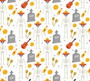 Day of the dead holiday in Mexico seamless pattern with sugar skulls.. Skeleton endless background. Dia de Muertos repeating texture. Vector illustration Stock Photo