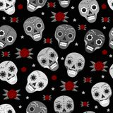 Day of the dead holiday in Mexico seamless pattern with sugar skulls.. Day of the dead holiday in Mexico seamless pattern with sugar skulls. Skeleton endless Stock Image