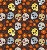 Day of the dead holiday in Mexico seamless pattern with sugar skulls. Skeleton endless background. Dia de Muertos. Repeating texture. Vector illustration Stock Images