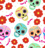 Day of the dead holiday in Mexico seamless pattern with sugar skulls. Skeleton endless background. Dia de Muertos. Repeating texture. Vector illustration Stock Photo