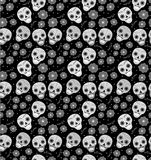 Day of the dead holiday in Mexico seamless pattern with sugar skulls. Skeleton endless background. Dia de Muertos. Repeating texture. Vector illustration Royalty Free Stock Photos