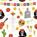 Day of the dead holiday in Mexico seamless pattern with sugar skulls.. Day of the dead holiday in Mexico seamless pattern with sugar skulls. Skeleton endless Stock Photo