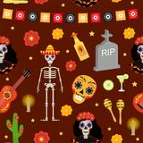 Day of the dead holiday in Mexico seamless pattern with sugar skulls.. Day of the dead holiday in Mexico seamless pattern with sugar skulls. Skeleton endless Royalty Free Stock Photography