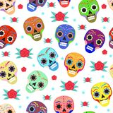 Day of the dead holiday in Mexico seamless pattern with sugar skulls.. Skeleton endless background. Dia de Muertos repeating texture. Vector illustration Royalty Free Stock Photos