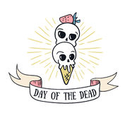 Day of the dead lettering greeting card. Vector holiday background. Hand drawn stylish illustration with text and sweet skulls Royalty Free Stock Photography