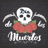 Day of the Dead, lettering quote with handdrawn skull and roses, vintage label, typography design or t-shirt print, vector illustr Stock Image