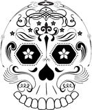 Day of the Dead Line Art Sugar Skull. Simple line art sugar skull design made of flourishes and ornaments.  Also available in Vector with clean clipping paths Stock Photo