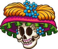 Day of the dead Mexican catrina skull. Vector clip art illustration with simple gradients. All in a single layer vector illustration