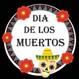 Day of the dead Mexican holiday greeting card, poster, flyer.  Royalty Free Stock Photos