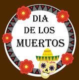 Day of the dead Mexican holiday greeting card, poster, flyer.   Royalty Free Stock Image