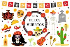 Day of the Dead Mexican holiday icons flat style.   Stock Photos