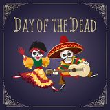 Day of the Dead Mexican Holiday Poster. Poster to Mexican holiday Day of the dead with dancing skeletons in festive clothes. Vector illustration Stock Images