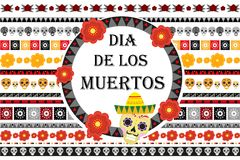 Day of the dead Mexican holiday set of patterned brushes.   Royalty Free Stock Images