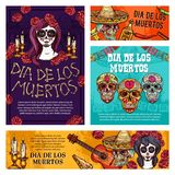 Day of Dead mexican holiday skulls and skeletons. Day of the Dead mexican Halloween holiday skulls and Dia de Muertos Catrina sketches. Mexico festival skeletons stock illustration