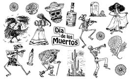 Day of the dead. Mexican national holiday. Original inscription in Spanish Dia de los Muertos. Skeletons in costumes. Day of the dead. Mexican national holiday stock illustration