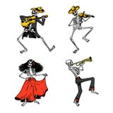 Day of the dead. Mexican national holiday. Original inscription in Spanish Dia de los Muertos. Skeletons in costumes Royalty Free Illustration