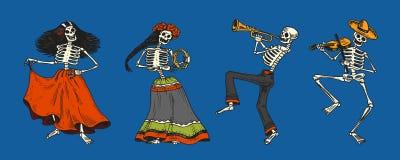 Day of the dead. Mexican national holiday. Original inscription in Spanish Dia de los Muertos. Skeletons in costumes. Day of the dead. Mexican national holiday vector illustration