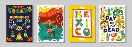 Day Dead Mexican Posters Set vector illustration
