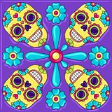 Day of the Dead mexican talavera ceramic tile pattern. Traditional decorative objects. Ethnic folk ornament vector illustration
