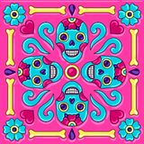 Day of the Dead mexican talavera ceramic tile pattern. Traditional decorative objects. Ethnic folk ornament stock illustration