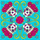 Day of the Dead mexican talavera ceramic tile pattern. Traditional decorative objects. Ethnic folk ornament royalty free illustration