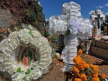 Day of the Dead in Mexico. Day of the dead decorations at the local cemetery on Janitzio Island, Patzcuaro Lake, Mexico. Taken 5 November 2016 Royalty Free Stock Photography