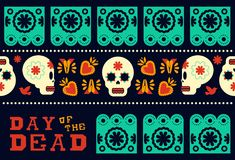 Day of the dead modern skull pattern decoration. Day of the dead traditional style seamless pattern design with sugar skull and modern mexican culture decoration Stock Photos