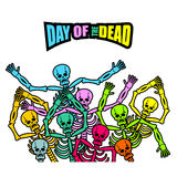 Day of the Dead Multicolored skeleton. color Skull. Dead backgro. Und for national holiday in Mexico. Mexican terrible feast Royalty Free Stock Photography