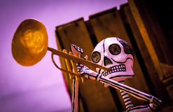 Day of the dead musical skeleton. Day of the dead holiday in Latin or Hispanic tradition. A fake skeleton of a mariachi musician Royalty Free Stock Photography