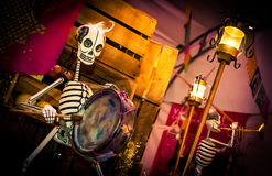 Day of the dead musical skeleton. Day of the dead holiday in Latin or Hispanic tradition. A fake skeleton of a mariachi musician Stock Photos