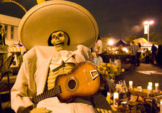 Day of the dead musician dead. Day of the dead holiday in Latin or Hispanic tradition. A fake skeleton of a mariachi musician Stock Image