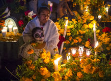 Day of the Dead. OAXACA , MEXICO - NOV 02 : A person with a costume on a cemetery in the Day of the Dead in Oaxaca, Mexico on November 02 2015. The Day of the royalty free stock photography