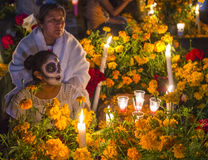 Day of the Dead. OAXACA , MEXICO - NOV 02 : Unidentified people on a cemetery during Day of the Dead in Oaxaca, Mexico on November 02 2015. The Day of the Dead Stock Photo